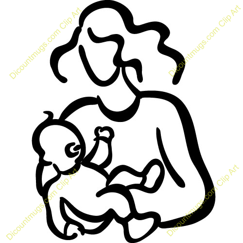 500x500 Mother And Baby Clipart Line Art
