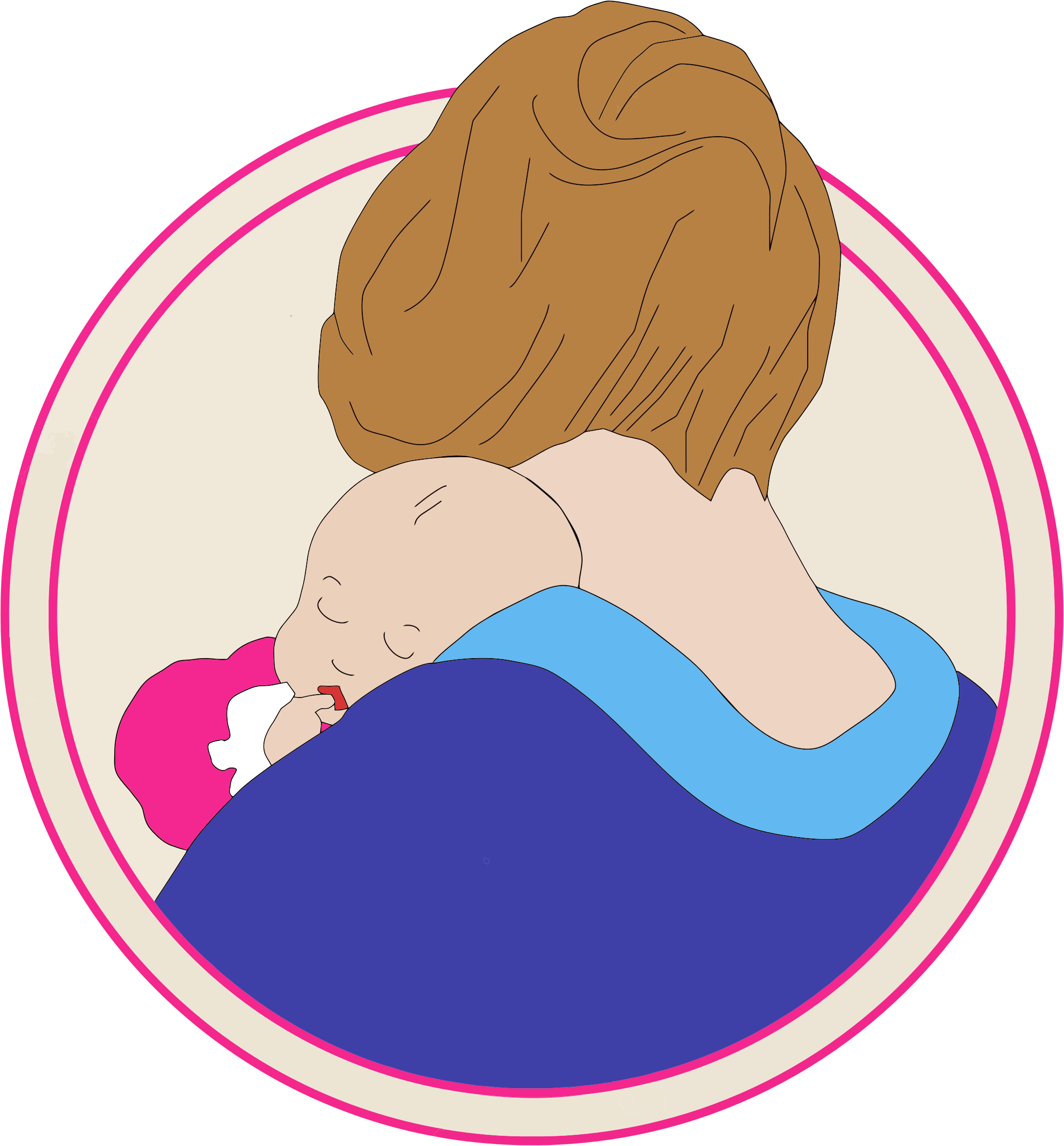 2188x2356 Mother And Baby Clipart Vintage