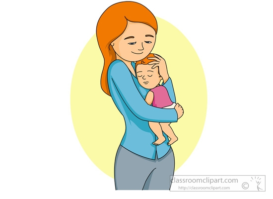 550x400 Mother Holding Baby Clipart