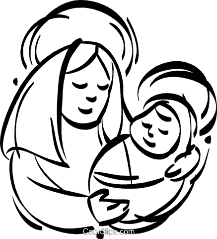 437x480 Mother Mary With Baby Jesus Royalty Free Vector Clip Art