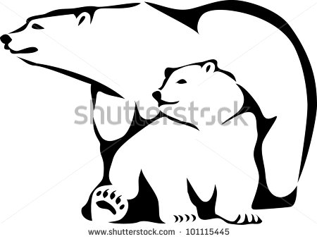 450x339 Of A Mother And Her Baby Polar Bear Sitting Down In A Vector Clip
