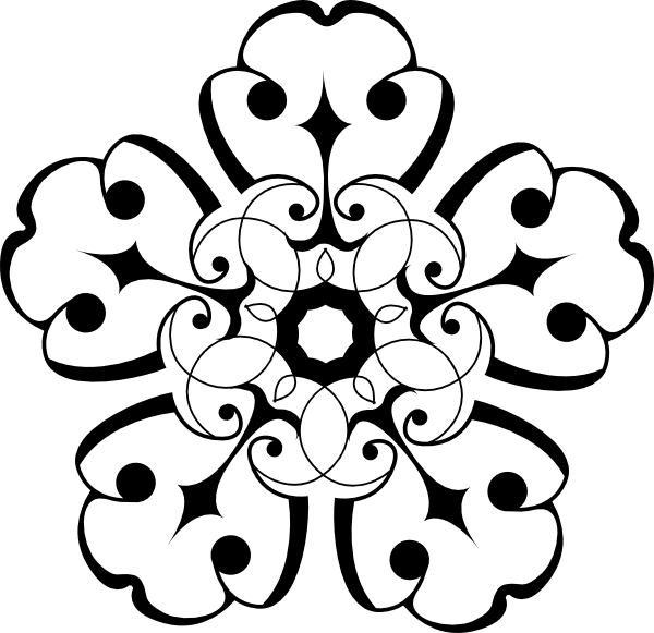 600x581 White And Black Ornamental Flower Flower Flower