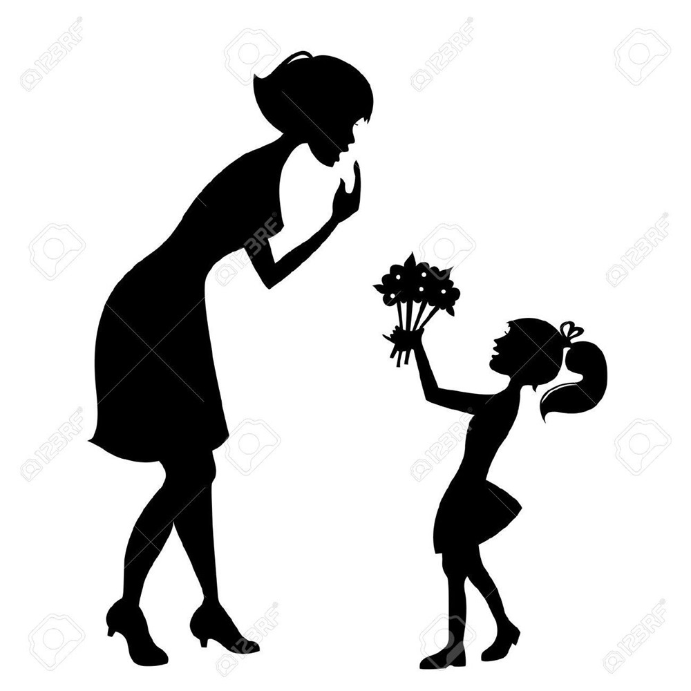 1000x1000 Free Clipart Mothers Day Black And White