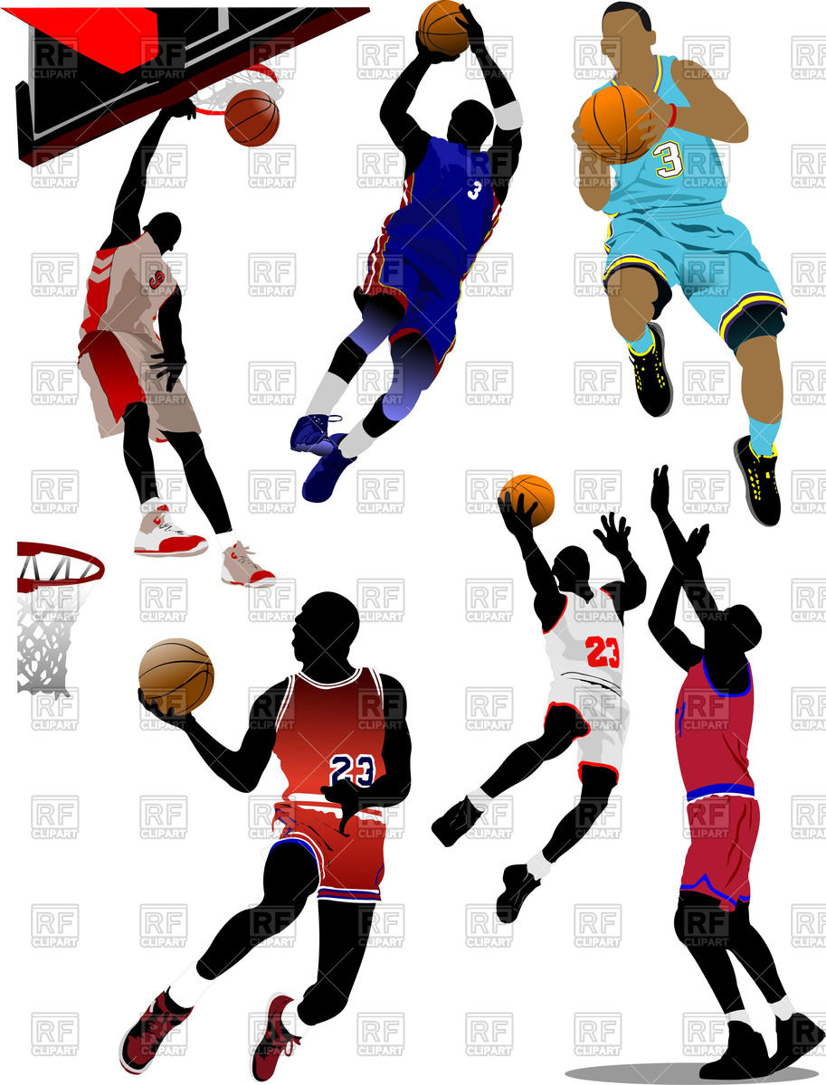 913x1200 Basketball Players With Balls In Motion