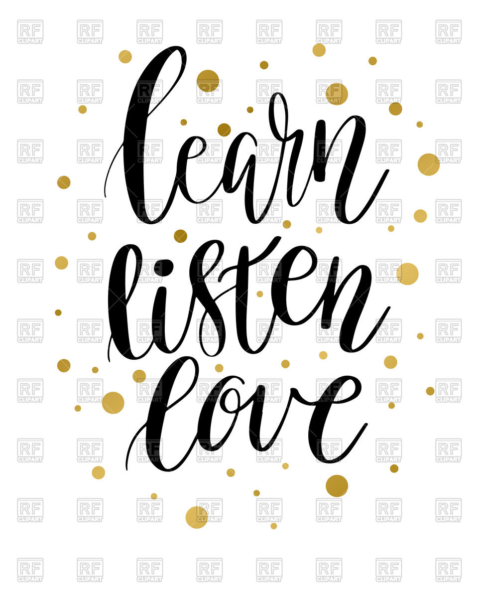 960x1200 Learn, Listen And Love Motivation Inscription With Golden Spots