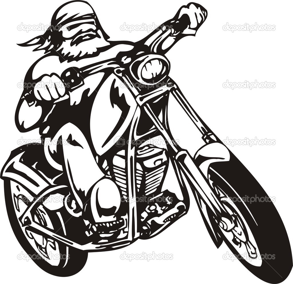 Motorcycle black and white clipart free download best for Free online drawing