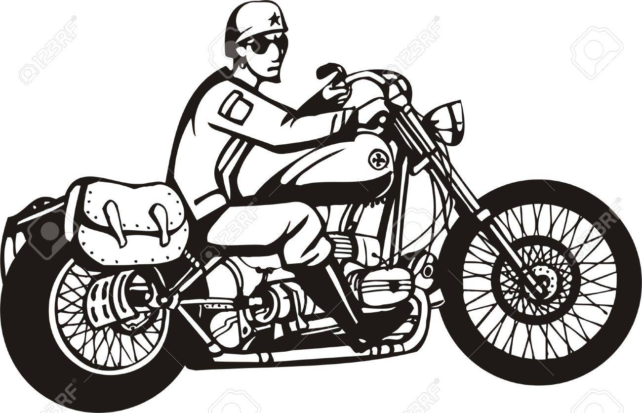 1300x836 Biker On Motorcycle. Vector Illustration. Royalty Free Cliparts