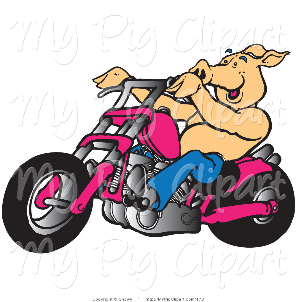 1024x1044 Swine Clipart Of A Biker Pig Riding A Chopper Motorcycle To