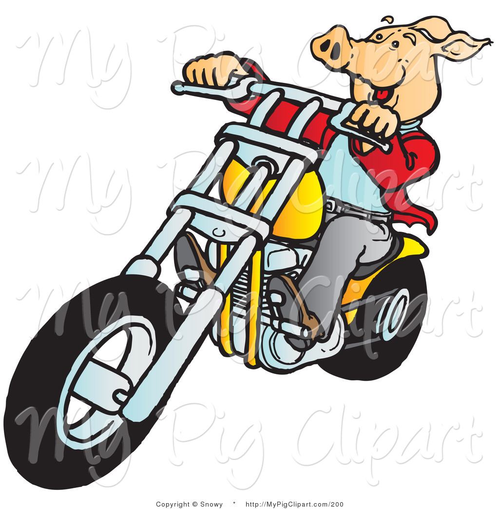 1024x1044 Swine Clipart Of A Happy Hog Riding A Yellow Chopper To The Left
