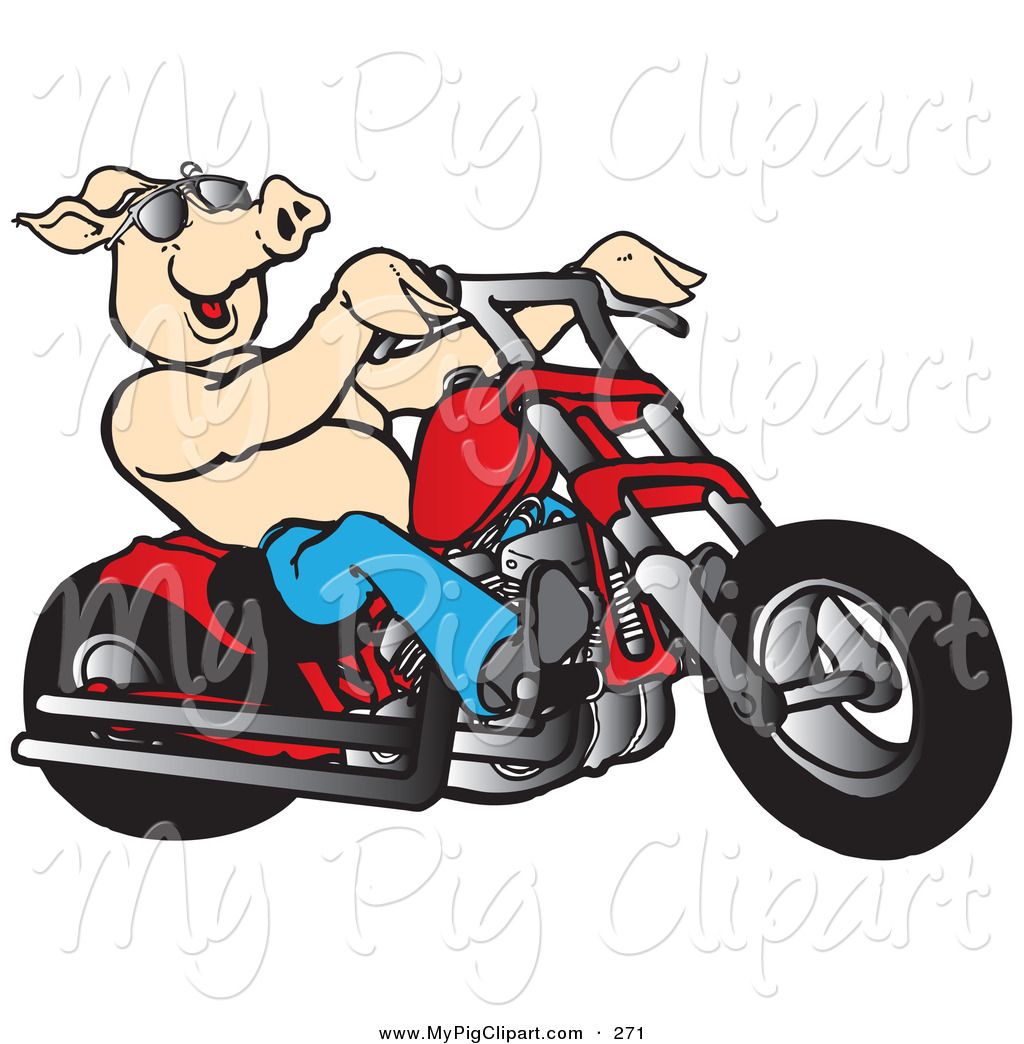 1024x1044 Swine Clipart Of Happy Shirtless Pink Pig In Shades, Riding