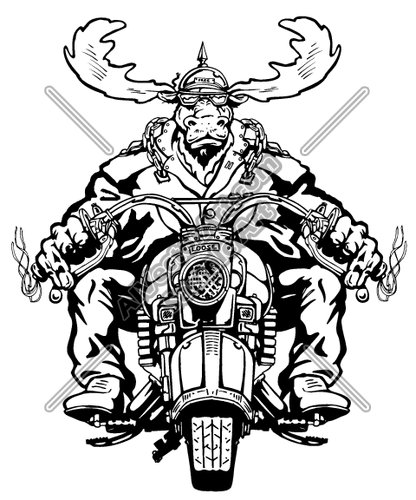 416x500 Skeleton On Motorcycle Clipart
