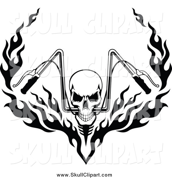 600x620 Vector Clip Art Of A Black And White Skull And Flaming Motorcycle