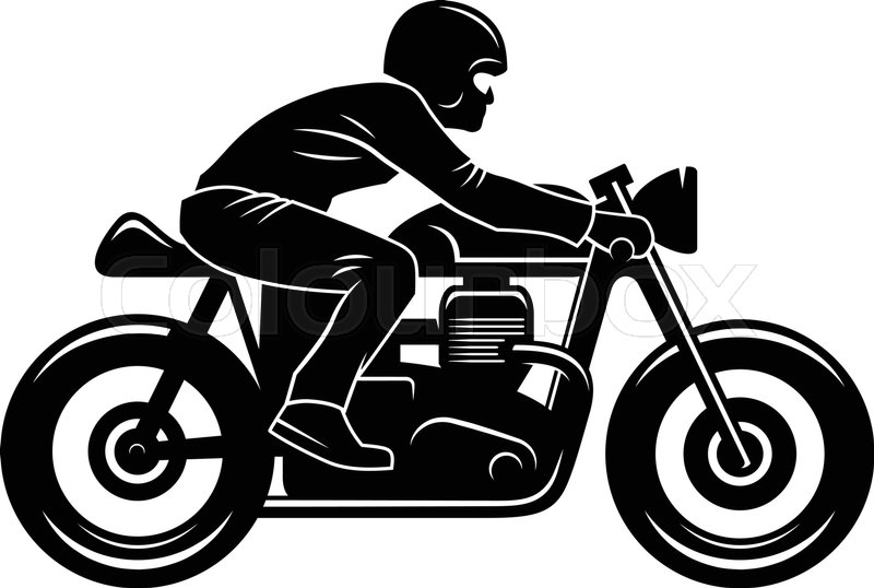 800x538 Cafe Racer Silhouette Isolated On White Motorcycle Rider