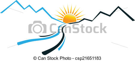 450x205 Mountain clipart mountain sun