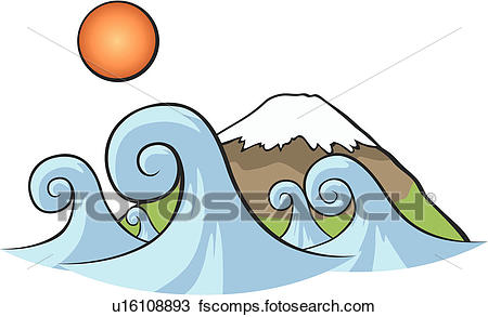 450x293 Drawing of nature, Hujimountain, mountain, waves, sun, japan