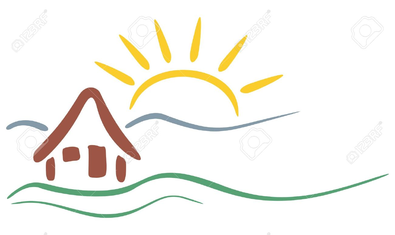 1300x774 clipart house mountain sun