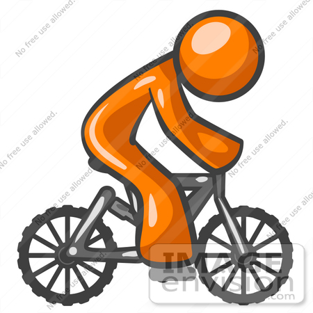 450x450 Clip Art Graphic of an Orange Guy Character Riding A Mountain Bike