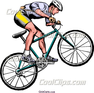 300x297 Man on mountain bike Clip Art