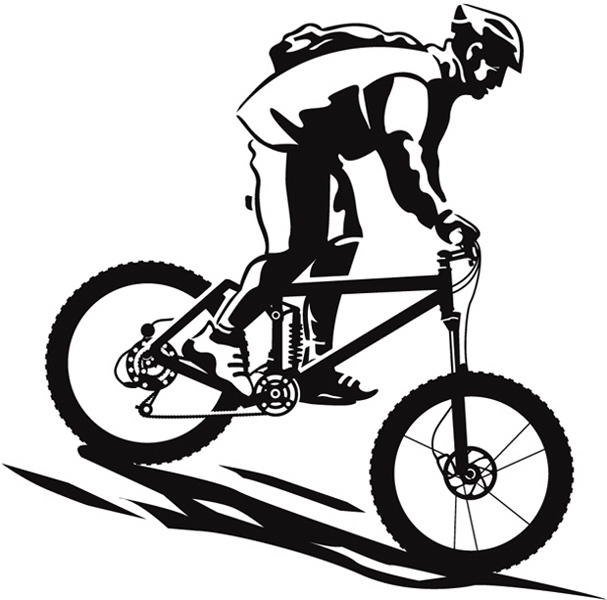 607x600 Bicycle clipart downhill