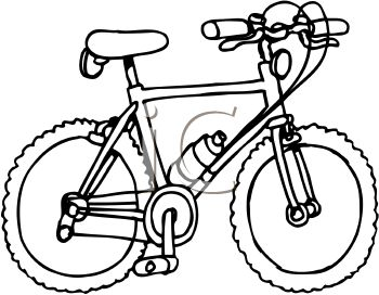 350x272 Royalty Free Clip Art Image Black and White Mountain Bike