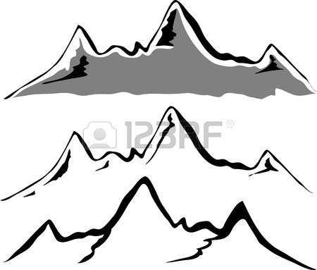 450x383 Mountain Black And White Clipart