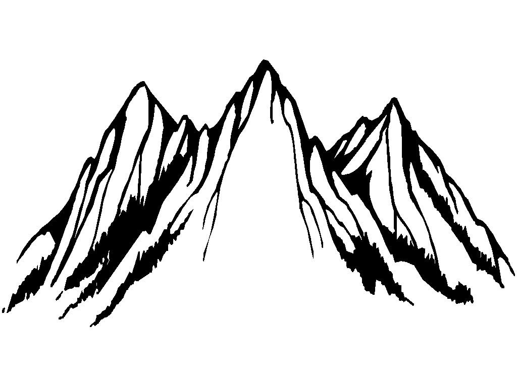 1024x768 Mountain Clipart Black And White