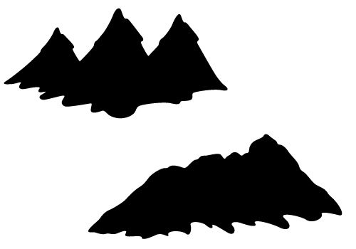 500x350 Mountain silhouette vector with hills and valleys free download