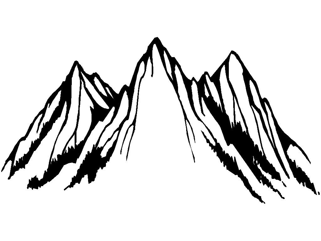 1024x768 Top 10 Clipart Black And White Outline Clipartfest Mountain Images