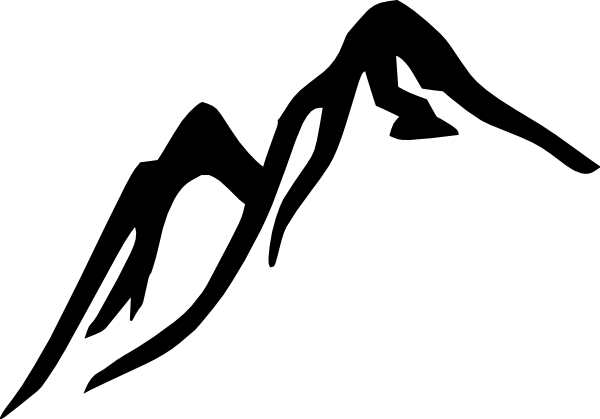 600x419 Black white Mountain Clip Art