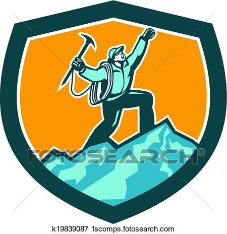 450x464 Clip Art Of Mountain Climber Reaching Summit Retro Shield