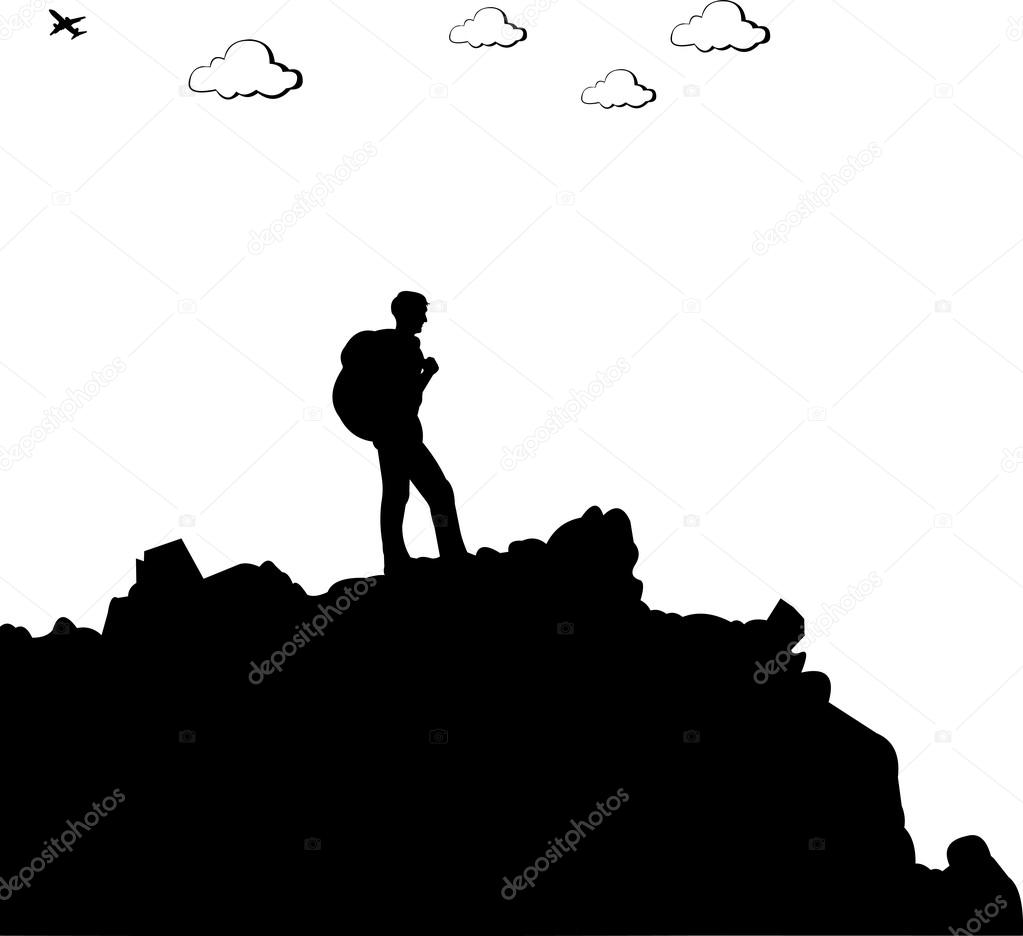 1023x936 Photo Collection Mountain Climber Silhouette Stock