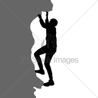 325x325 Black Silhouette Mountain Climber Climbing A Tightrope Up Gl
