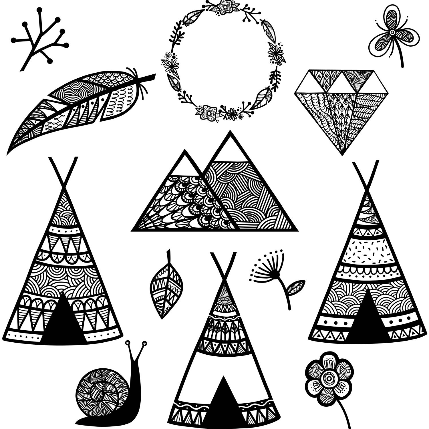 1500x1500 Teepee Clipart, Teepee Clip Art, Feather Clipart, Laurel Clipart