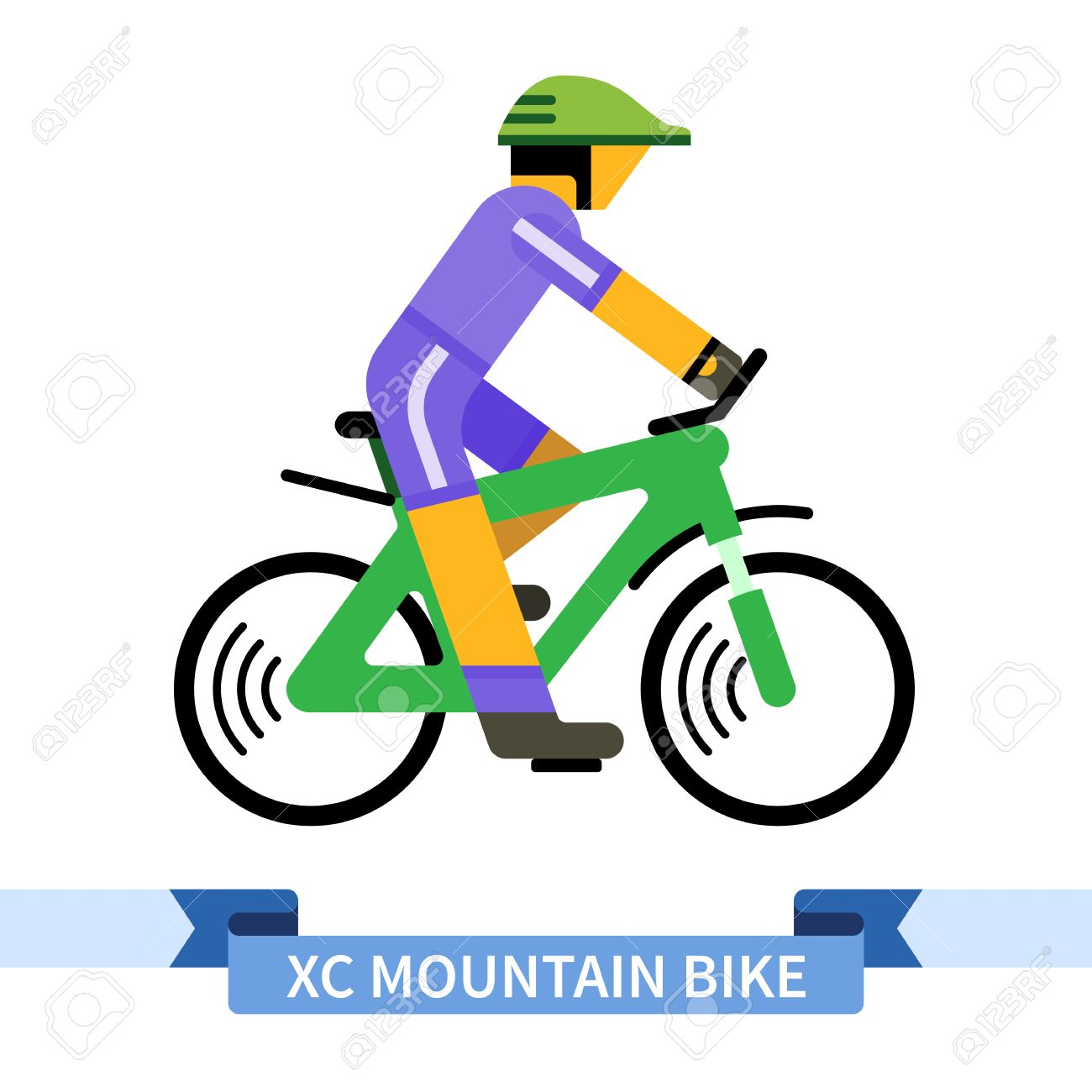 1300x1300 Bicyclist On Cross Country Mountain Bike. Simple Side View Clipart