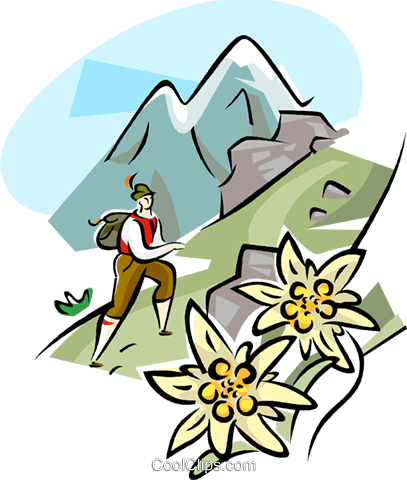 407x480 Hiking In The Alps Royalty Free Vector Clip Art Illustration