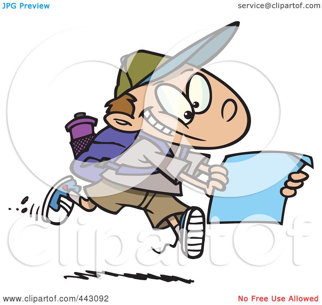 1080x1024 Royalty Free (RF) Clip Art Illustration of a Cartoon Hiking Boy