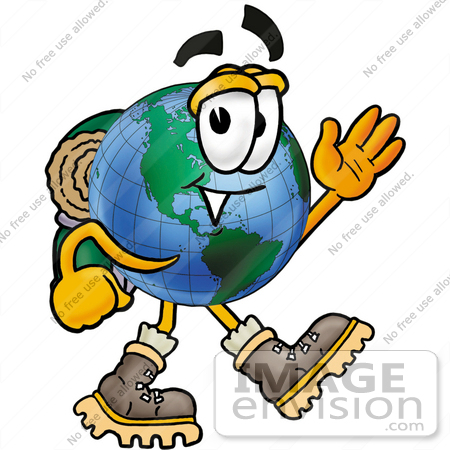 450x450 Clip Art Graphic Of A World Globe Cartoon Character Hiking
