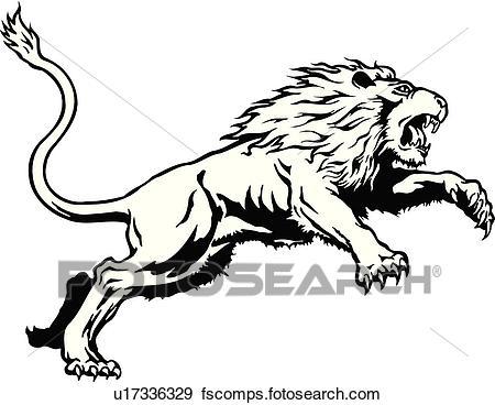 450x368 Clip Art Of Illustration, Lineart, Animal, Lion, Leaping U17336329