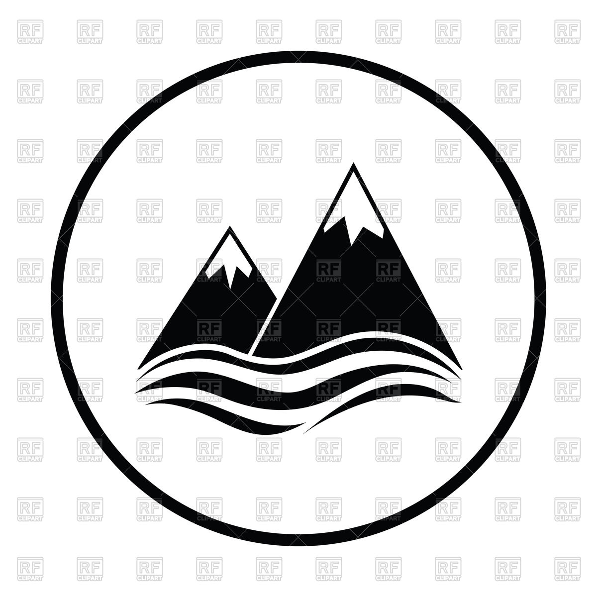 1200x1200 Thin Circle Design Of Snow Peaks Cliff On Sea Icon Royalty Free