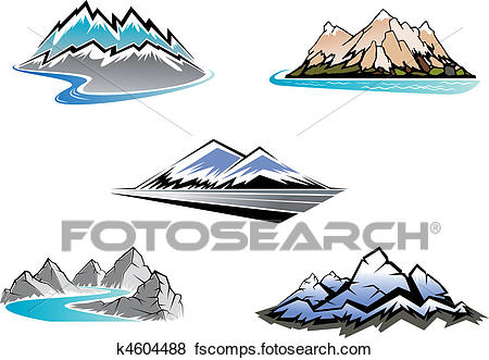 450x331 Clip Art Of Mountain Peaks K4604488