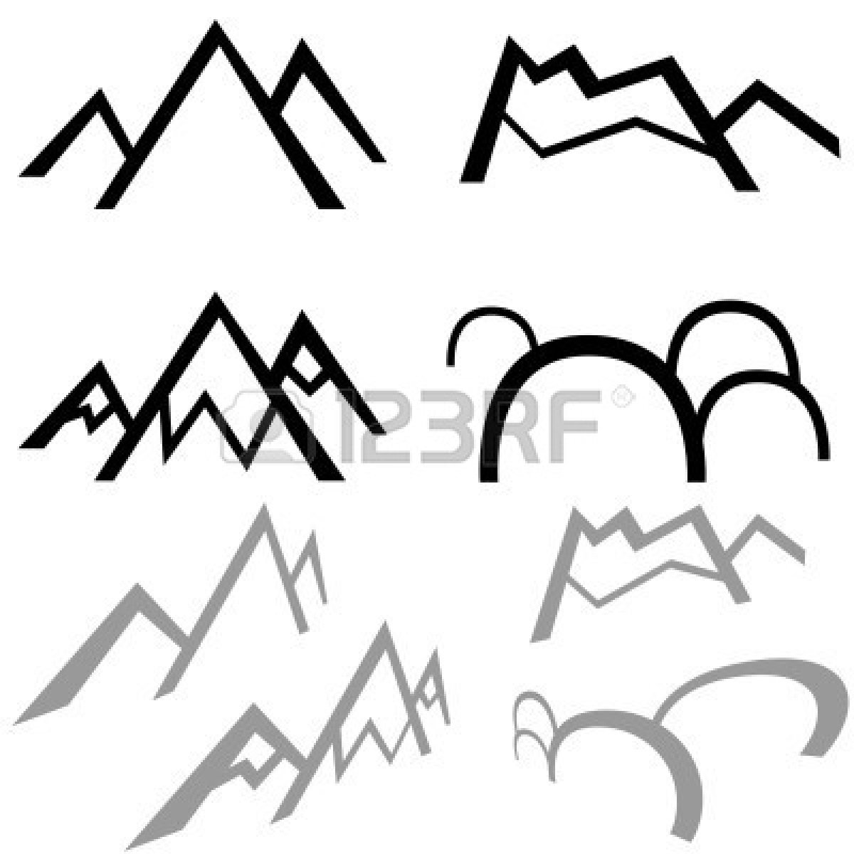1200x1200 Mountain Range Silhouette Clip Art