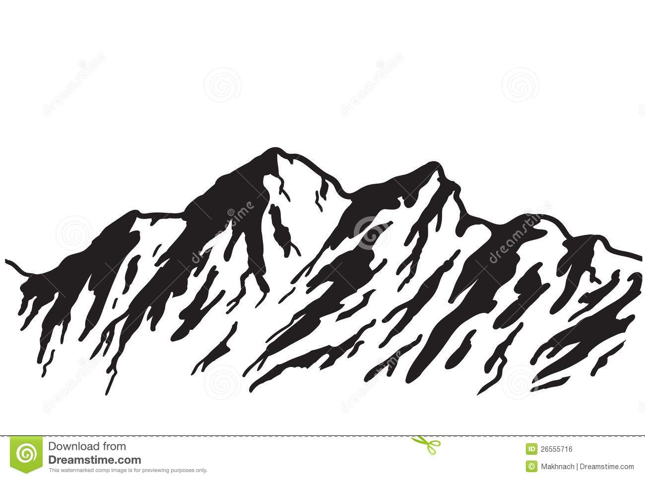 1300x968 Mountain Scene Black And White Clipart
