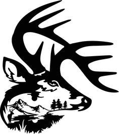 236x267 Wildlife Clip Art Silhouettes Mountain Scene Deer Family Metal