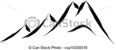450x197 Mountain Sketches Clip Art Clipart