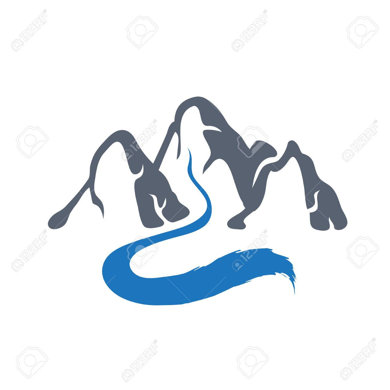 1300x1300 Mountain River Or Stream Icon, Vector Icon Illustration. Royalty