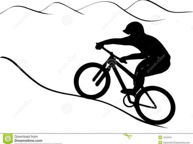640x480 Royalty With Mountain Bike Clip Art Silhouette Shadow On