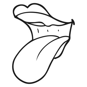 300x300 Freehand Drawn Black And White Cartoon Mouth Drooling Royalty Free