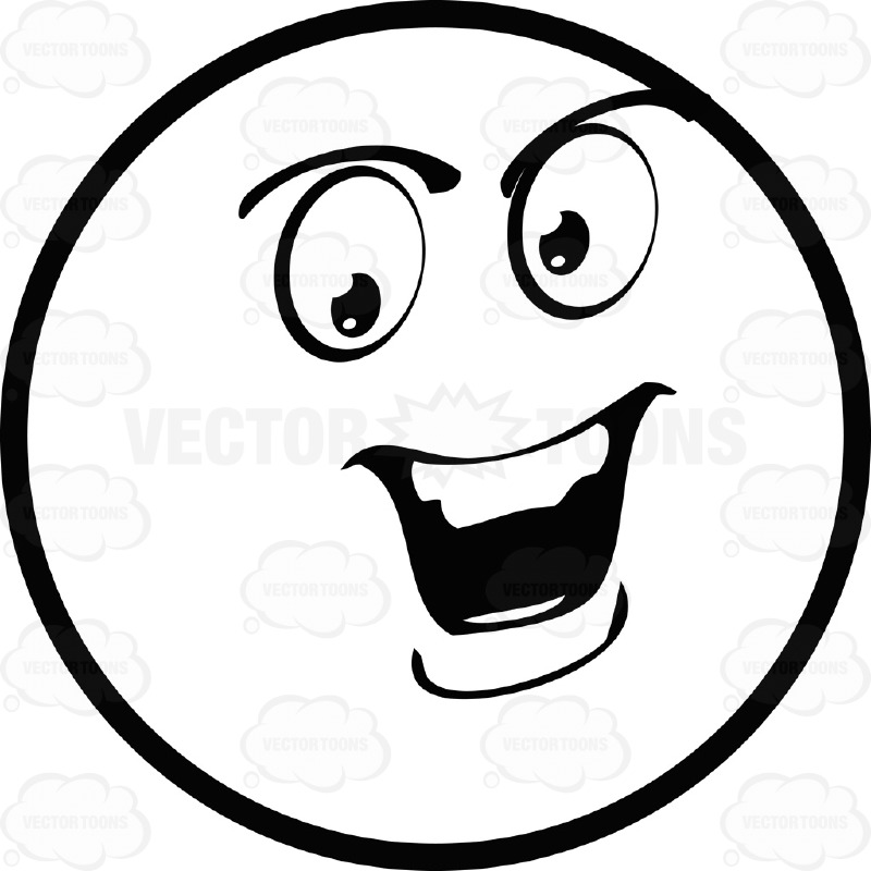 800x800 Speaking Confident Large Eyed Black And White Smiley Face Emoticon