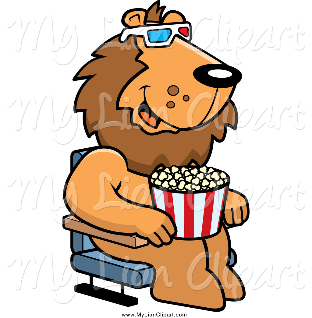 1024x1044 Clipart Of A Lion Eating Popcorn And Watching A 3d Movie By Cory