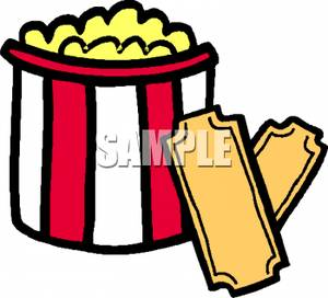 300x272 Movie Tickets And A Bucket Of Popcorn Clip Art Image